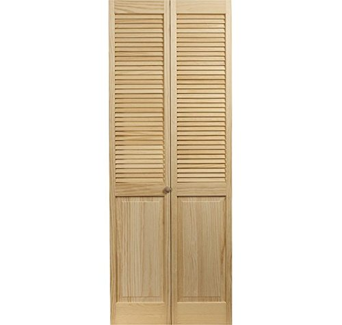 LTL Home Products 810526 Louver Over Panel Bifold Interior Wood Door 30 Inches x 80 Inches Unfinished Pine