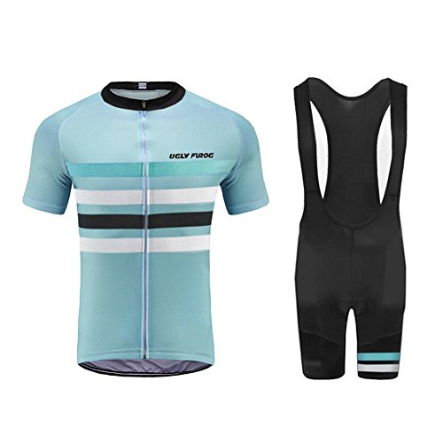 Uglyfrog2018 Men's Cycling Jersey Breathable Full-Zipper Comfortable Cycling Top and 3D-Padded Tight Bib(Short) Set For Outdoor Riding USDRXYS01