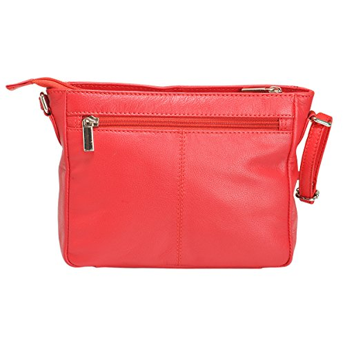Women Crossbody Leather Purse Genuine For Red Multipurpose Shoulder AzraJamil By Bag g64nqwBax