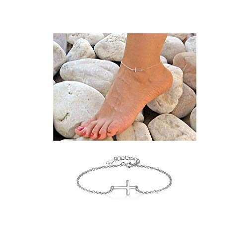 Dcfywl731 Silver Ross Gold Adjustable Cross Chain Anklet for Women Handmade Dainty Foot Chain Sideways Cross Bracelet (Silver)