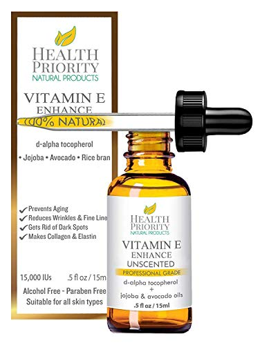 100% Natural & Organic Vitamin E Oil For Your Face & Skin, Unscented - 15,000/30,000 IU - Reduces Wrinkles & Fade Dark Spots. Essential Drops Are Lighter Than Ointment. Raw Vit E Extract Sunflower. (Best Oil For Healthy Skin)