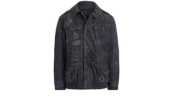 Polo Ralph Lauren Mens Medium Combat Full-Zip Jacket Black M ...