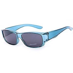 Driver Goggles Fit Over Sunglasses Men Women Wear Over Prescription Glasses - Over Eyeglasses - Polarized Lenses Mirror Glasses Blue Frame