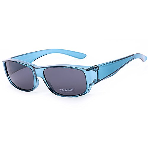 Driver Goggles Fit Over Sunglasses Men Women Wear Over Prescription Glasses - Over Eyeglasses - Polarized Lenses Mirror Glasses Blue Frame