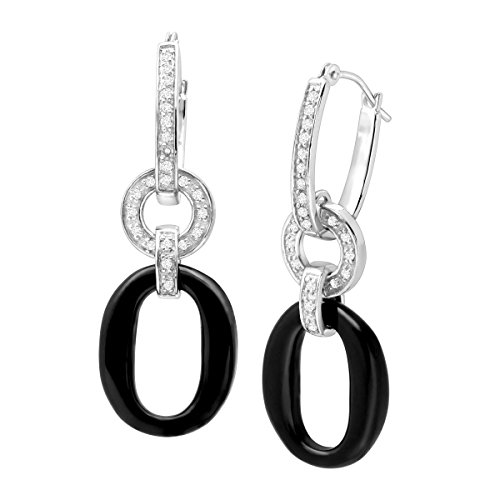 Natural Onyx Ring & 1/5 ct Diamond Circle Drop Earrings in Sterling ()