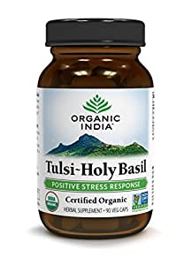 ORGANIC INDIA Tulsi - Holy Basil Supplement - Made with Certified Organic Herbs (Vegetarian Capsules, 90 Count)
