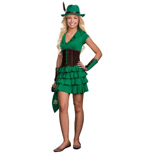 Dreamgirl Juniors Robyn Da Hood 6-Piece Hem Dress and Faux Suede Waist Cincher, Green, Small