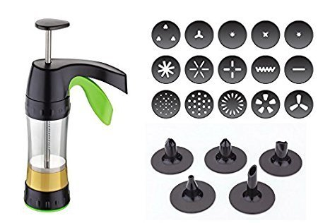 Good Grips Multi Purpose Cookie Press Biscuit Maker with 16 Cookie Disc Shapes and Designer 5 Nozzle Set For Cake Decoration by DarkPyro