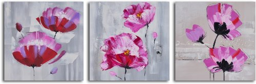 My Art Outlet 3-Piece Hand Painted ''Pretty in Pink Triptych'' Canvas Set by MyArtOutlet