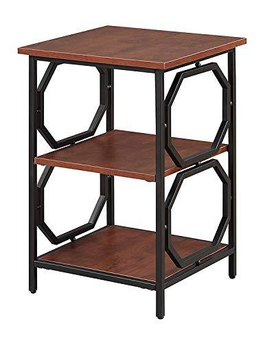 Omega Desk - Convenience Concepts Omega Metal End Table, Cherry / Black