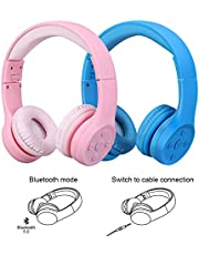 Kids Wireless Headphones,Yusonic Bluetooth V5.0 Foldable Volume Limited Kids Bluetooth Headphones with Built-in Microphone for Cell Phones TV Computer Toddler Tablet Game School Boy (2pcs Pink+Blue)