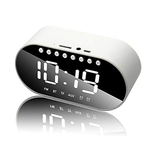 Hancoc Bluetooth-luidspreker Wit Draadloze Bluetooth Wekker Speaker Subwoofer Home Draagbare Mini Audio Player