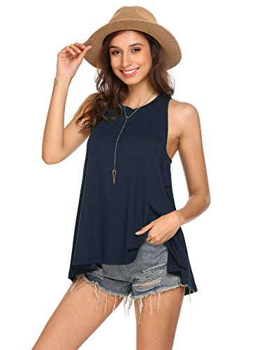 Pinspark Women's Summer Sleeveless Shirt Loose Fit Racerback Tunic Tank Tops Navy Blue Medium by Pinspark