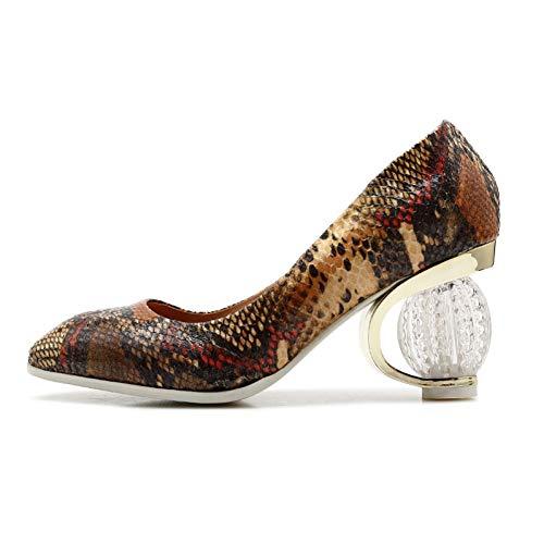 Femmes Bout Hauts Profond Printemps Inhabituelle Peu Ai Chaussures Carré liangxie Snake Cristal Nouveau Officce Talons Femme Pompes Ya gwZqXx8I