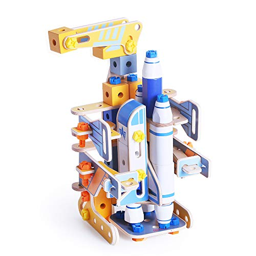 iwood Space Shuttle Launch Pad Assemly Wooden Nuts and Bolts Combination DIY Construction Kids Toy Set Challenging Model Assembly Toys to Improve Problem Solving for Kid Toddlers Girls Boys Preschool ()