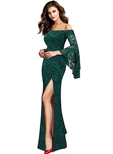 VFSHOW Womens Floral Lace Off Shoulder Bell Sleeve Formal Evening Maxi Dress 1810 GRN M
