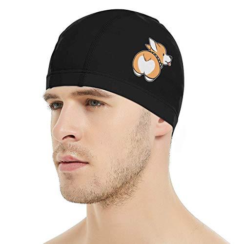 Dunpaiaa Corgi Butt Swim Cap, 3D Ergonomic Design Swimming Cap for Women Men Long Hair Short Hair Adult Swim Cap