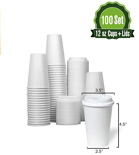 Hot White Paper Coffee Cups with Lids [ 12oz - 100 Set ] Disposable Coffee Cups ideal for Home, Office, Restaurant, and Togo