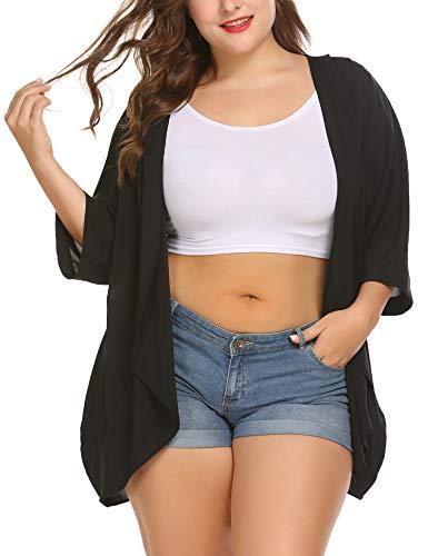 Kimono Cover Up Cardigan Swimwear Bikini Cover Up Open Front Sheer Chiffon Beach Dress Plus Size for Women