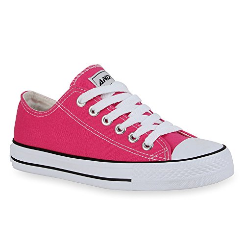 Unisex Schuhe Damen Herren Kinder Sneaker Low Canvas Übegrößen Freizeit Schuhe Turnschuhe Schnürer Schnürschuhe Flandell Neonpink