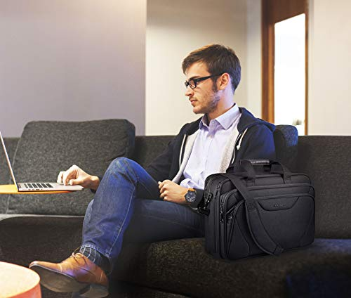 KROSER 18'' Laptop Bag Premium Laptop Briefcase Fits Up to 17.3 Inch Laptop Expandable Water-Repellent Shoulder Messenger Bag Computer Bag for Travel/Business/School/Men/Women-Black by KROSER (Image #6)