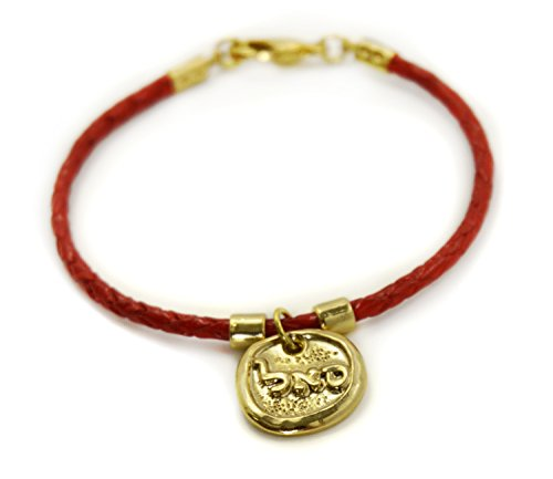 Kabbalah 72 Names of God Gold Plated Red Leather Bracelet SAL for Prosperity