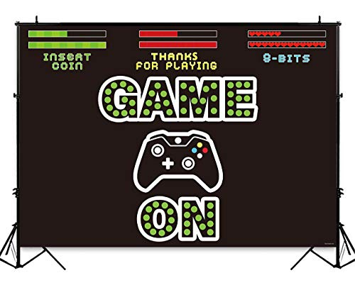 (Funnytree 7X5ft Video Game On Party Backdrop Kids Retro Gaming Photography Background Boy Birthday Baby Shower Decorations Cake Table Banner Photo Booth Studio Props)