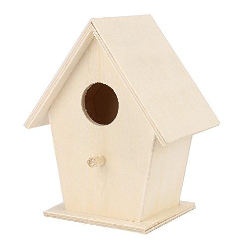 Casa de pájaros de madera natural Cimaybo Casa de aves colgante (A)