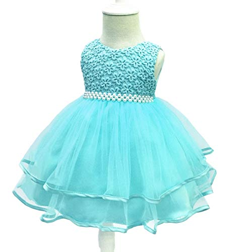 Baby Girls Dress 0-24 Month Baby Lace Baptism Princess Sleeveless Baby Girls 1St Year Birthday Dress Birthday Party Vestido SkyBlue 6M -