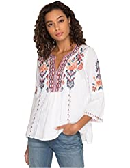 3J Workshop by Johnny Was Womens Flare Sleeve Blouse with Embroidery