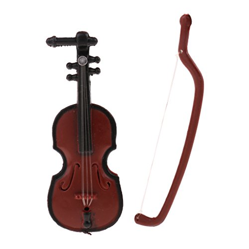 MagiDeal 1/12 Dollhouse Miniature Musical Instrument Plastic Violin Model Figures Toy Accessory