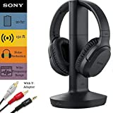 Sony Wireless RF Headphone & Cable Bundle – Feature 150-Foot Range, Noise Reduction, Volume Control, Voice Mode, 20-Hr Battery Life –NeeGo 6-ft 3.5mm Stereo/2 RCA Plug Y-Adapter for TV,