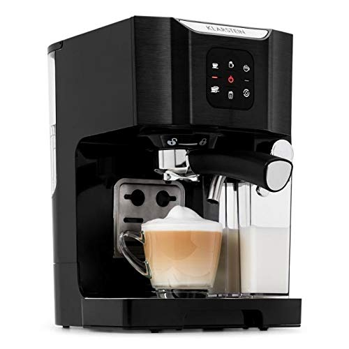Klarstein BellaVita Coffee Machine • 3-in-1 Function for Espresso, Cappuccino and Latte Macchiato • 0.4 L Milk Frother • 1450 Watts • 20 Bar Pressure • 1.4L Water Tank • Self-Cleaning System • Black