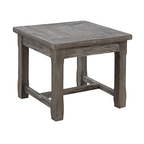Emerald Home Paladin Rustic Charcoal Gray End Table with Plank Style Top And Farmhouse Timber Legs (Plank Farmhouse Table Top)
