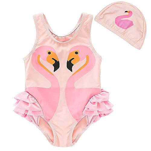 Girls One Piece Swimsuits Unicorn Swimwear Beach Bathing Suits (Flamingo, 4T/4)