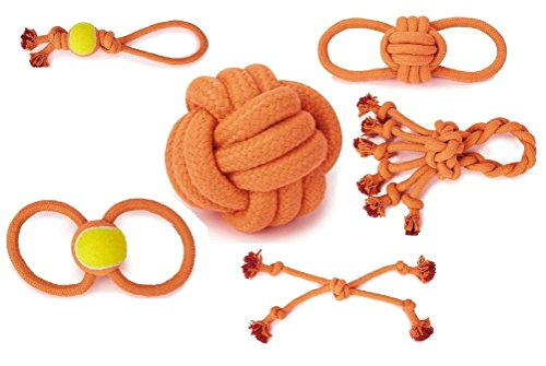 Rope Toy Collection For Dogs Extra Tough Big Dog Toys Rope Ball Knot Tennis by Defonia Petsupplies