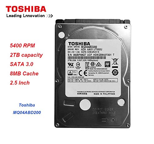 Toshiba 2.5in inch Laptop Notebook Hard Drive Disk HDD MQ04ABD200 2TB 2000GB 9.5mm 5400RPM (Renewed) ()