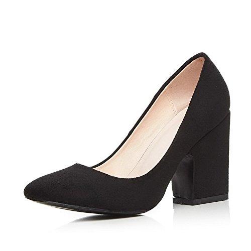 Allhqfashion Mujer Imitado Gamuza Sólido Pull-on Señaló El Dedo Del Pie Cerrado Zapatos De Tacón Alto-zapatos Negro