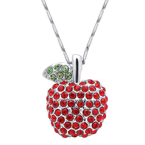 ATDMEI Apple Pendant Necklace Sterling Silver Plated Red Zircon for Women Girls Jewelry Gifts