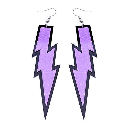 LEKUSHA Women's 80s Costume Accessories Fashion Retro Neon Lightning Earrings - Purple ()
