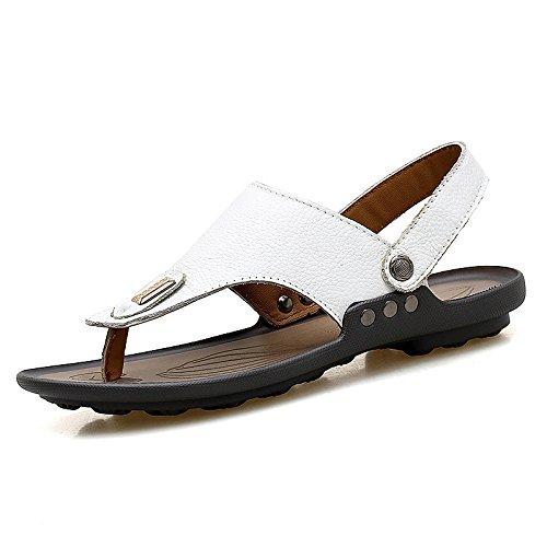 Sandali di svago di uso doppio di modo degli uomini di tendenza dei nuovi sandali di estate i sandali di svago, bianchi, UK = 8, EU = 42