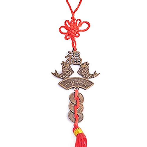Feng Shui Knot Bracelet - Feng Shui Double Fish+fu+i Ching Coins W Red Knot Charm Handbag Hanging + One Free Red String Bracelet Y1346