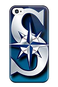 Iphone 4/4s Hard Back With Bumper Silicone Gel Tpu Case Cover Seattle Mariners