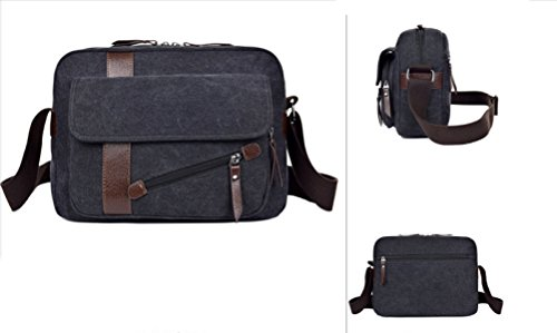 Bag Laidaye Leisure Travel Messenger Black Backpack Multi Business Canvas purpose qER1U