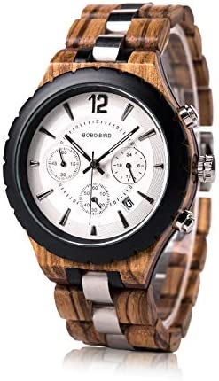 BOBO BIRD Men's luxury stylish wooden watches Date & chronograph Military quartz movements