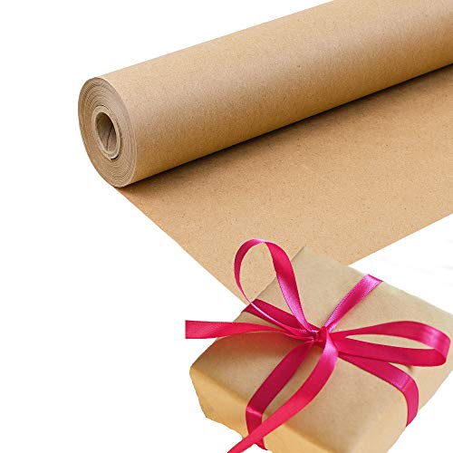 Brown Kraft Paper Roll for Wrapping, Packaging, Moving, Crafts, Protecting Surfaces and More. Strong, Easy to Use 40# Paper. 100% Recycled, Made in USA. (30x1200)