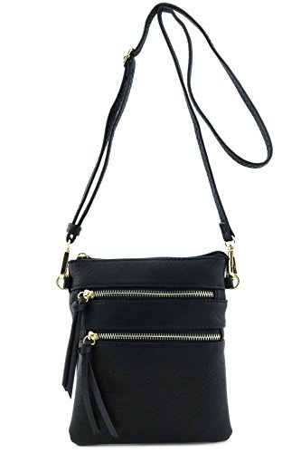 Shoulder Purse - Functional Multi Pocket Crossbody Bag (BLACK)