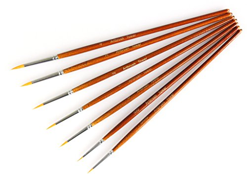 Fine Detail Paint Brush Set - 7 Pieces Miniature Brushes for Watercolor/Acrylic Painting - Detail Fine Art