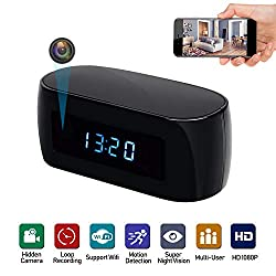 MINGYY Table Hidden Camera Wireless WiFi Camera Electronic Clock Cam HD 1080P Night Vision Camcorder Remote View Surveillance Cameras for Home Office Kids Nanny