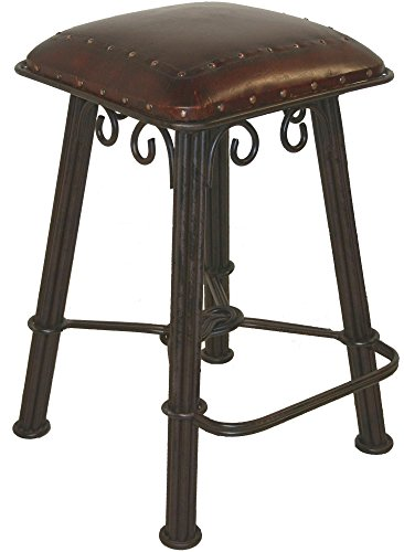 Western Barstool in Wrought Iron w Hand-Tooled Leather Seat (Tooled Leather Seat)